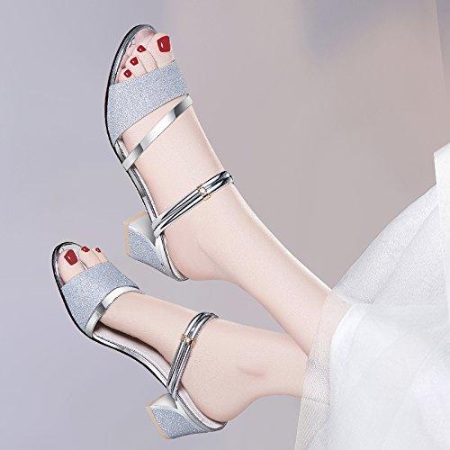 SUHANG sandals Sandales femelle Quarter Pantoufles à talons hauts Rugueuses avec la fille, enveloppé dans un grand Nombre des femmes Chaussures 2090 Silver 6CM