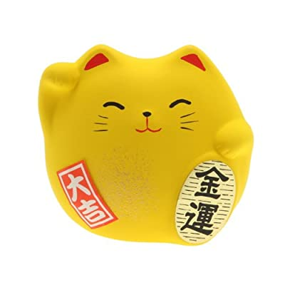 Kotobuki Maneki Neko Charm Kin-un Collectible Figurine, Wealth, Yellow