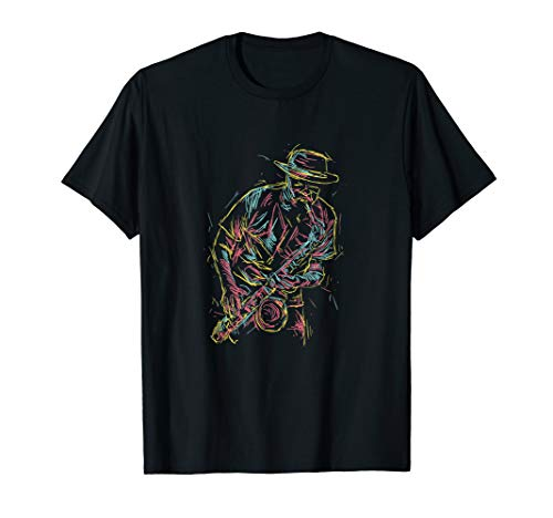 Jazz Saxophone Player Colorful Abstract Art Sax Musician Fan T-Shirt