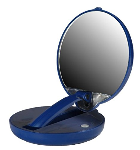 Lighted Adjustable 10X Mirror Compact in Blue Case