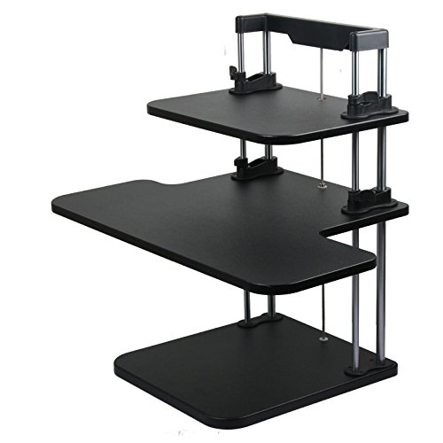 Special Pedestal - SimLife Ergonomic Height Adjustable Sit/Stand Desk with Special Color Easy Assembly and Elevating for Computer Monitor & Laptop (Regular-3L, Black)
