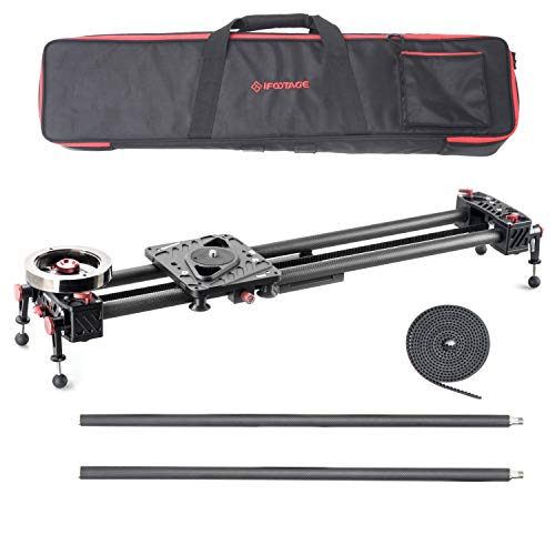 IFOOTAGE Camera Slider Track Carbon Fiber 53' Dolly Rail Video Stabilizer Professional for DSLR Camera DV Video Camcorder Film Photography - Shark Slider S1 with Extension Tubes (S1B)