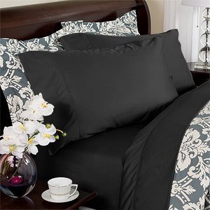 Egyptian Bedding 1200 Thread Count Egyptian Cotton Sheet Set, Queen, Black  Solid