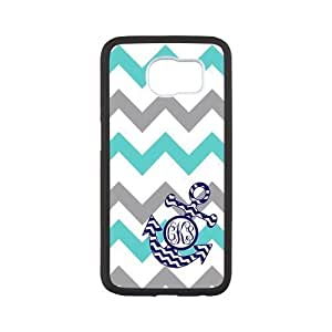 Turquoise Gray Chevron Zigzags Pattern & Navy Anchor Monogram Personalized Custom Best Plastic Hard Case for Samsung Galaxy S6 G9200