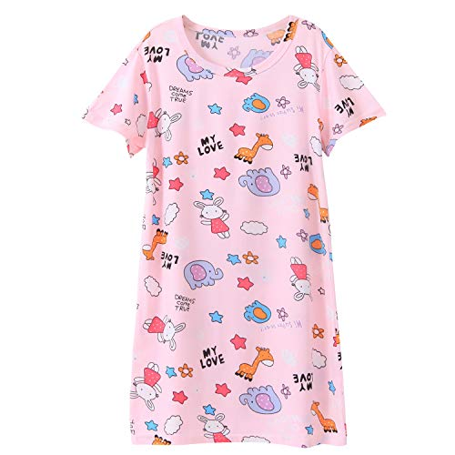 Nightgown Girls Toddler Animal Giraffe Print Sleep Shirts Cotton Sleepwear Pink for 5-6 -