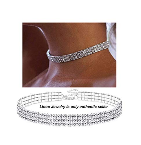 Eoumy 3 Rows Adjustable Clear Crystal Rhinestone Choker Necklace for Women (3 Row Necklace)
