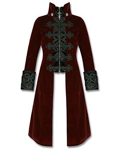 Uomo Nero Steampunk Cappotto Rosso Rave Lungo Velluto Baratheon Punk Giacca Gotico Da q148wptv