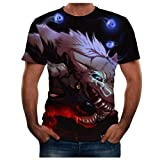 LUXISDE Men Tops Men Summer New Full 3D Printed T Shirt Plus Size S-3XL Cool Printing Blouse Blue,S