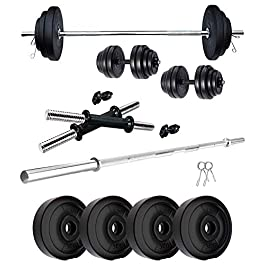 SUS Products 04 KG to 20KG Home Gym Combo Kits of PVC Dumbbell Plates Set with 3 Ft Straight Rod + Spring Locks Exercise…