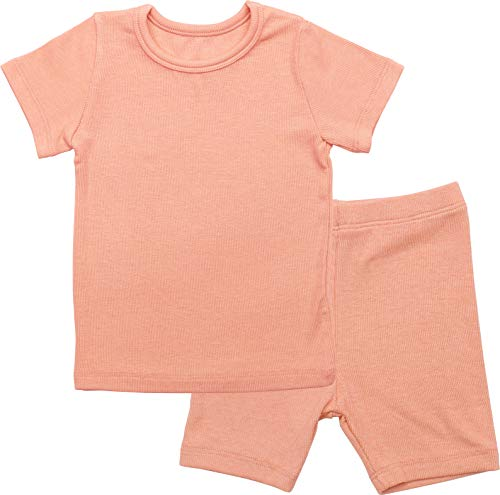 AVAUMA Newborn Baby Little Boys Snug-Fit Pajamas Summer Short Sets Pjs Kids Clothes (L/Coral)