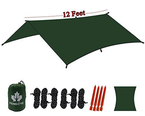 - QiYue Large Waterproof Rain Fly for Hammock Durable Outdoor Tent Tarp Sun Shelter Lightweight Canopy for Camping Backpacking Hiking Nylon Green