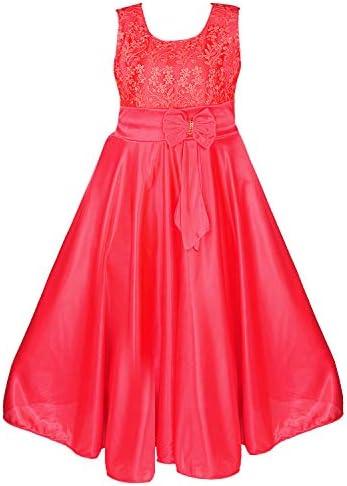 8e499d9d9e1f Wish Karo Girls Long Frock Dress - Lycra - (LF138 - Tomato Red - 5-6 ...
