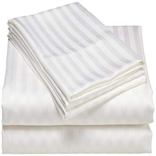 Dishi New Cozy Peru Silky Soft Hotels Quality 1000 TC Series Bedding 4 Pieces Sheet Set 100/% Organic Combed Egyptian Cotton Queen White Striped Smooth fit with Mattress