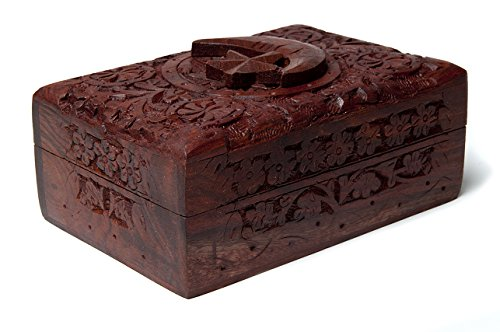 FindSomethingDifferent Rustic Handcarved Wooden Tarot Box Star & Moon (Stars Wooden Chunky)