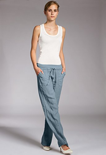 para Holgado Corto Largos KHS025 Vaquero Caspar Pantalones Azul Lino Mujer de XwqFZnxUA