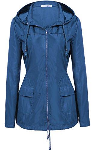 Meaneor Womens Hooded Lightweigt Waterproof Rainwear Outdoor Long Slim Raincoat
