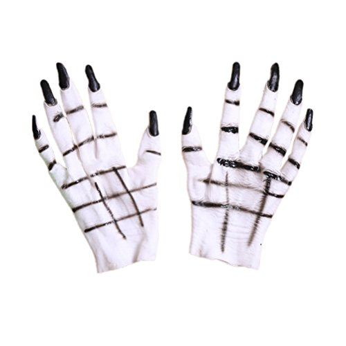 BESTOYARD Women's Halloween Costume Cosplay Latex Ghost Gloves Horror Creepy White Devil Hands Halloween Fancy Dress Masquerade Party Costumes Props -