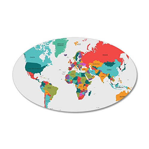 CafePress - World Map With The Name Of The Countries Wall Deca - 20x12 Oval Wall Decal, Vinyl Wall Peel, Reusable Wall Cling
