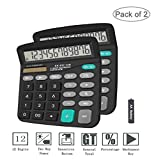 Basic Calculator,BESTWYA 12-Digit Dual Power Handheld Desktop Calculator with Large LCD Display Big Sensitive Button (Black,Pack of 2)