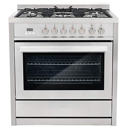 Cosmo COS-F965NF Commercial-Style 36 in. 3.8 cu. ft. Single Dual Fuel Range with 5 Burners and 8 Function Convection Oven, Cast Iron Grates|Stainless Steel