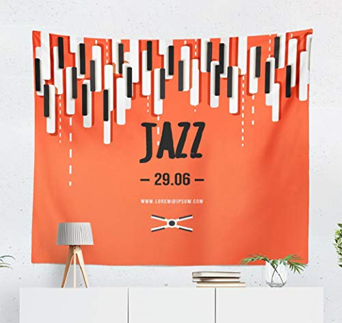 (Summor Jazz-Music Wall Tapestry,Tapestry Wall Hanging Jazz Music Music Festival Poster with Music Keys Flyer Music Piano WallDecor for Bedroom Living Room Tablecloth Dorm 80x60)