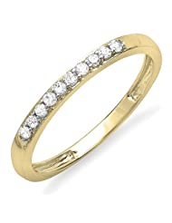 0.15 Carat (ctw) 18k Gold Round Diamond Ladies Anniversary Wedding Matching Band Stackable Ring