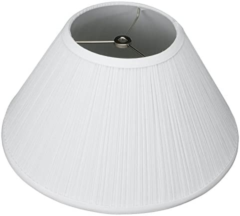 FenchelShades.com Lampshade 6 Top Diameter x 14 Bottom Diameter x 8 Slant Height with Washer Spider Attachment for Lamps with a Harp Pleated White