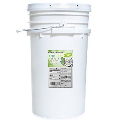 Milliard Citric Acid - 50 Pound Bulk - 100% Pure Food Grade NON-GMO Resealable Plastic Pail