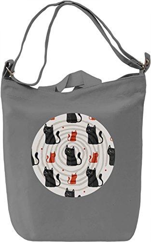 Psychedelic Kitties Borsa Giornaliera Canvas Canvas Day Bag| 100% Premium Cotton Canvas| DTG Printing|