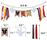 Mickey 1st Birthday Banner, Handmade First Birthday Highchair Banner Mickey Photo Props Party Decorations Supplies
