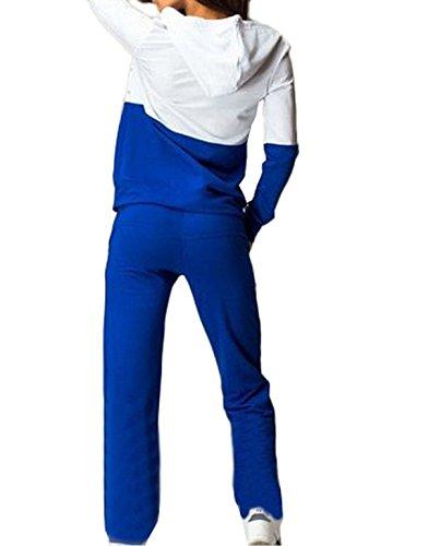 Casuali Manica Pullover Pezzi Felpa Donna Misti Blu con Tuta Sport Tops Zip Pantaloni Cappuccio Lunga Colori Pantaloni 2 Eleganti wPqOEP