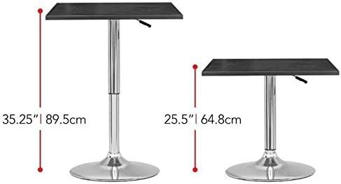 Atlin Designs Adjustable Square Pub Table in Black