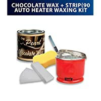 PMPEARL Chocolate Wax 90-Pieces Strips with Auto Cut Heater, Sponge and Knife