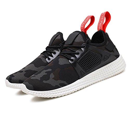 LHWY Herren Sneakers Mode Männer Straps Sport Laufschuhe Camouflage Schuhe für Jugendliche Jungen Schwarz