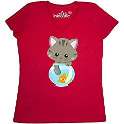 inktastic - Kitty and The Fish Bowl, Women's V-Neck T-Shirt Large True Red 35a84