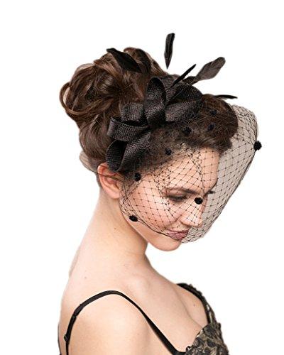 Hat With Veil (Vimans Women's Bowknot Feather Detachable Cocktail Party Veil Fascinator Hair Clip Hat Black)