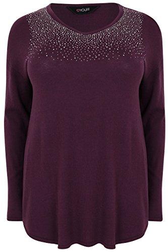 Womens Fine Knit Jumper With Diamante Embellishment To Neckline, Plus Size 16 To Size 24-26 Purple (Diamante Knit)