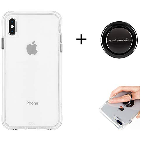 Case-Mate - Bundle - iPhone Xs Max Tough Case - Clear + Solid Black Ring for Apple iPhone 6.5