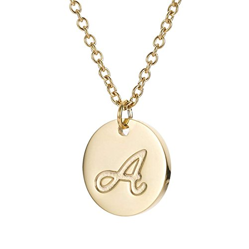 (MMTTAO Initial Necklace 18K Gold Filled Disc Letter Alphabet Monogram Necklaces for Women Girls Stainless Steel Personalized Pendant Necklace - Letter A)