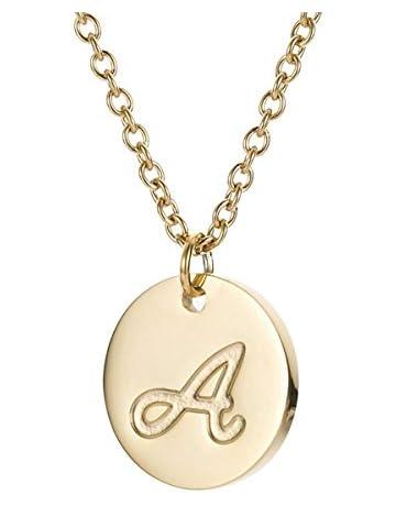 8bfa0343af489 MMTTAO Initial Necklace 18K Gold Filled Disc Letter Alphabet Monogram  Necklaces for Women Girls Stainless Steel