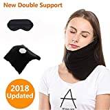 JZDZ Upgraded Double Neck Support Travel Pillow with Eye Mask,Airplane Travel Pillow Scientifically Proven Memory Foam Portable & Machine Washable,Black