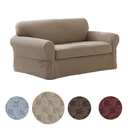 (MAYTEX Pixel Ultra Soft Stretch 2 Piece Loveseat Furniture Cover Slipcover, Sand)