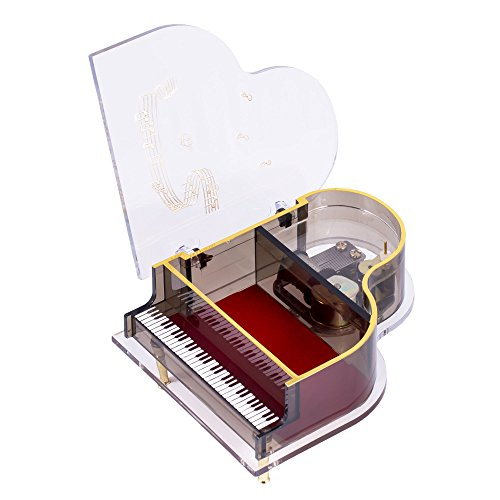 Clear Acrylic Baby Grand Piano Musical Jewelry Box Plays