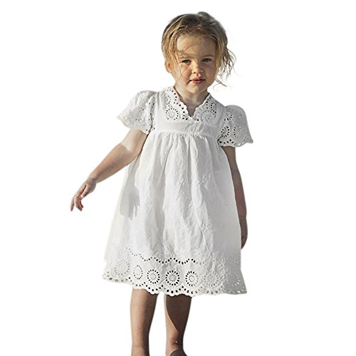 - Birdfly Little Girls Floral Lace Eyelet Dresses Casual Flare Sundress Toddlers Dress Up Outfits for School Holidays Party Photoshoot Weddings (5 Years, White)
