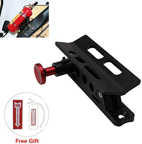 buyinhouse Adjustable Fire Extinguisher Mount for Jeep Wrangler JK TJ CJ Roll Bar Fire Extinguisher Mount Holder with Clamps for Polaris RZR Ranger