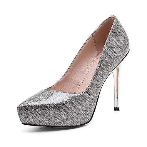 Nuevo On 34 High Shoes Hoesczs Heels Silver Pumps Thin Punta Slip Women Wedding Tamaño 39 Estrecha Platform Party dZwzq0qREx