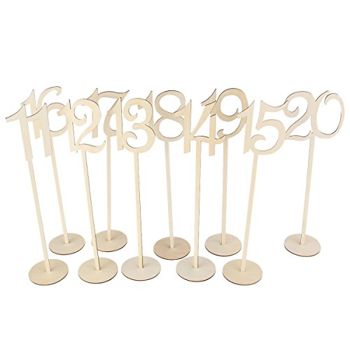 Pixnor 1 to 20 Wooden Table Numbers with Holder Base for Wedding Party Decoration Pack of 20 by PIXNOR (Image #2)