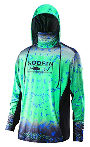 Performance Sunblock - Performance Fishing Hoodie with Face Mask Sunblock Shirt Hooded Long Sleeve with Drawstrings Pocket Green