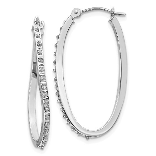 14k White Gold Diamond Fascination Twist Hinged Hoop Earrings Ear Hoops Set Fine Jewelry Gifts For Women For Her