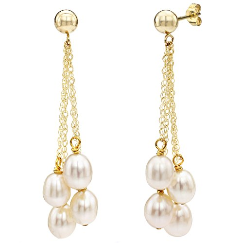 14K yellow Gold 4 Chain Dangle White Freshwater Cultured Pearl Stud Earrings for Women 6-6.5mm ()